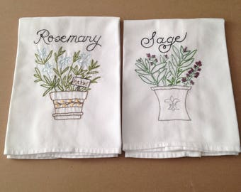 Vintage Flour Sack Kitchen Towels, Set of Two, Pair, White Cotton Blend Fabric, With Natural Slubs, Hand Embroidered, Measuring 19.75 X 17