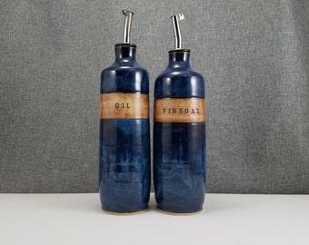 Made to order(up to 3 weeks)*** Ceramic olive oil cruet, stoneware oil pourer, pottery oil bottle, oil and vinegar ceramic bottle, Dark Blue