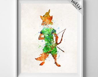 Robin Hood, Robin Hood Print, Robin Hood Art, Watercolor Decor, Children Room, Disney, Poster, Wall Art, Home Decor, Type 1, Gift For Him