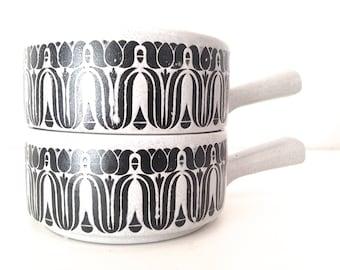 Scandinavian modern ironstone bowls Mid century modern Scandinavian Christmas Bowl set Gift Onion soup bowls Soup mugs  Scandinavian home
