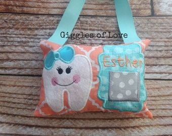 Personalized Tooth Fairy Pillow - Girl Tooth - Coral and Aqua