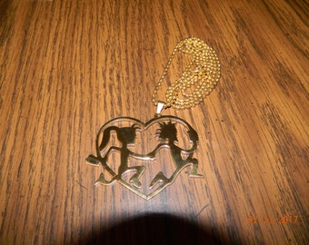 ICP Hatchetman n Hatchetgirl Love Gold tone pendant w/ gold tone 30 inch ball chain