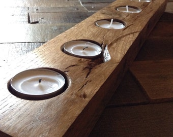 Salvaged Wood Candle Holder