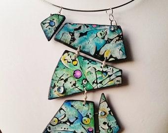 "Pendant, ""Seabed..."", polymer clay, mokume gane, original design, unique, handmade, handpainted"
