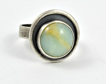 Round Chrysoprase Ring, Dark Silver Ring, Modern Jewelry, Contemporary Ring, Gift for Her, Gift for Women, Green Stone Ring, Statement Ring
