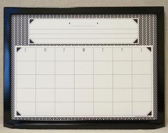 Whiteboard Calendar Amp Cork Board Gray Chevron Monthly
