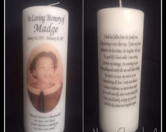 "8"" Personalized Photo Memorial Candle, Funeral Candle, Tribute Candle, Wedding Candle, Memory Pillar Candle."