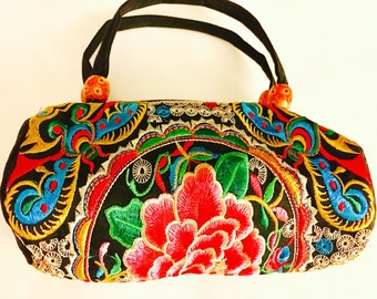 Women Handmade handcrafted floral embroidered black small handbag purse.