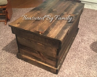 Farmhouse Style Dark Walnut Trunk Primitive Coffee table