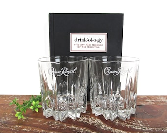 Vintage Crown Royal Canadian Whiskey Glasses, Set Of 2 Starburst Etched Glass Crown Royal Barware