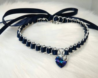 Discreet Blue Ribbon Maille Submissive Day Collar with Swarovski Crystal Heart Pendant and Bell, DDLG, Baby Girl