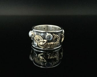 Mermaid Sea Life Ring // Oxidized 925 Sterling Silver with Gold Vermeil // Natural Pearl, Blue Topaz and Rainbow Moonstone // Size 8