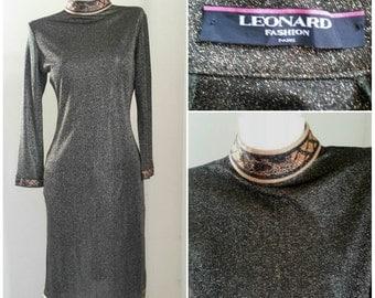 Vintage 60s 70s LEONARD PARIS Metallic Dress ~Long Mod Midi Size L