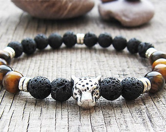 Mens bracelet Boyfriend gift Mens gift for men jewellery leopard bracelet animal bracelets tiger eye bracelets protection bracelet gemstones