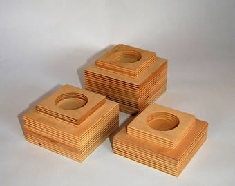 Handmade birch plywood candle holders - Set of 3.
