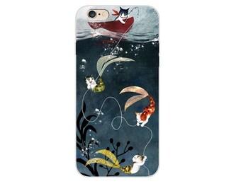 MERMAID iPhone Case, mermaid cat iPhone 7 Case phone case cat phome case mermaid iPhone 6 Plus case cat mermaid iPhone 6 Case, iPhone 6Plus