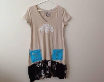 Boho Summer Tunic Upcycled Clothing Refashioned Tee Shabby Romantic Repurposed Top. Women's Size Medium to Large.