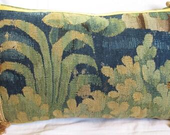 Antique Eighteenth Century Flemish Verdure Tapestry Cushion - Pillow - Grass & Leaves
