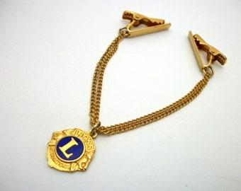 Vintage Lions Club Sweater Clip - Gold with Blue Enamel Emblem Charm