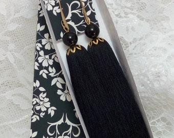 Tassel Earrings, Black earrings, Long Tassel Earrings, Luxury Tassel Earring, Silky Tassel Jewelry