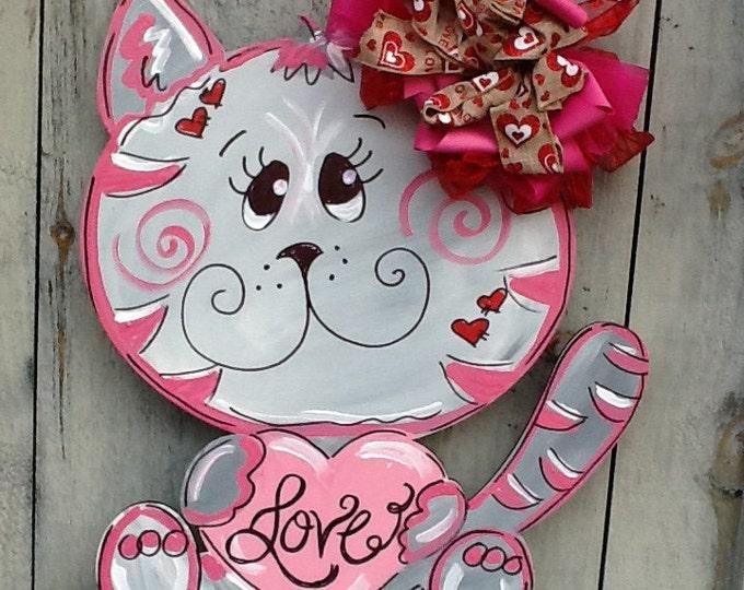 Valentines sign, valentines door hanger, valentine sign, cat door sign, valentines cat sign, valentines heart sign, valentines decor