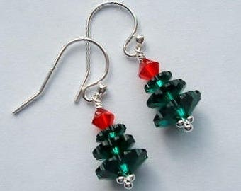 Christmas Tree Earrings; Swarovski with Sterling Silver; Xmas Trees/ Christmas earrings; Swarovski & Silver UK ; Clip on option available