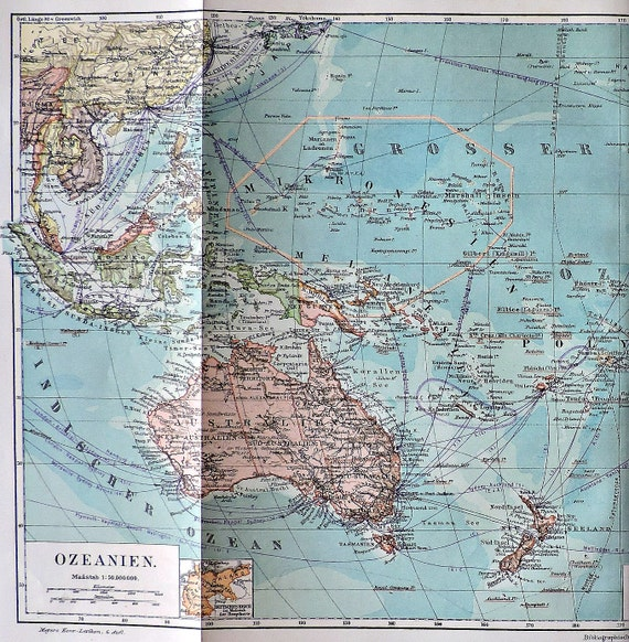 Oceania colonies map at the beginning of the 20th.  Old book plate, 1904. Antique  illustration. 112 years lithograph. 9'6 x  17'9 inches.