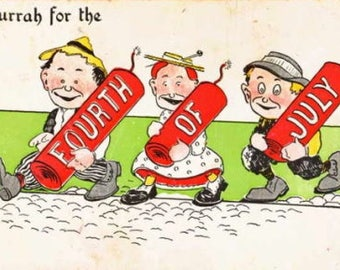 """1911 """"Hurrah for the Fourth of July"""" Children with Fireworks Postcard"""