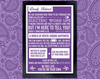 Dearly Beloved Poster - purple, prince, lyrics, tribute