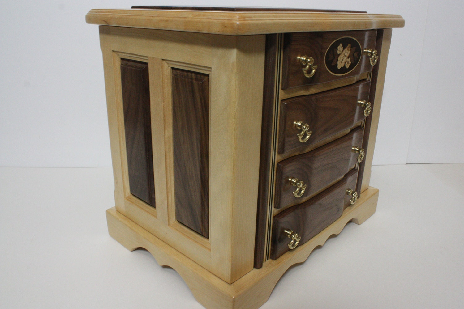 Large Handmade 4 Drawer with Necklace Hooks Box For Sale