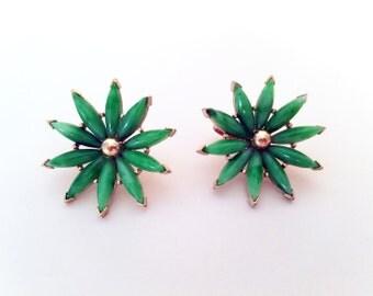 60s 70s Earrings Vintage Flower Earrings Clip On Earrings Gold and Green Stone  Earrings Atomic Earrings Mod Earrings Vintage 60s Earrings