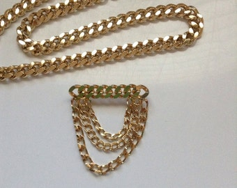 Vintage gold tone chunky chain necklace set