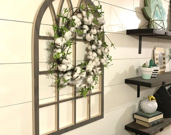 Gray Cathedral Window Frame, Wood Window Frame Wreath Hanger