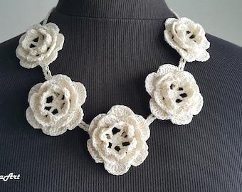 Crochet Necklace,Crochet Neck Accessory, Flower Girl Necklace,Light Ivory, 100% Cotton.