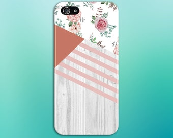 Geometric Pink Roses x Peach Grey Wood Print Case, iPhone 7, iPhone 7 Plus, Tough iPhone Case, Galaxy s8, Samsung Galaxy Note 5 CASE ESCAPE