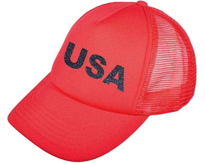 USA baseball hat . Glitter baseball cap . American 4th of July baseball hat - red, white, blue . Ladies sparkle trucker flat bill hats