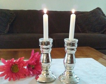 """Mercury glass candle holders, two (2), each 7"""" high"""