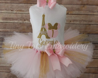 Minnie Mouse Paris Tutu Outfit ~ Glitter Minnie in Pink ~  Includes Top, Tutu & Hair Bow ~ Customize in Any Colors!