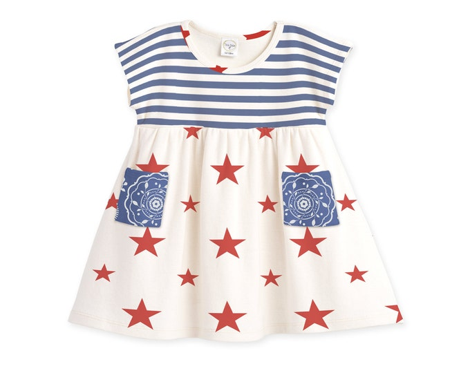 Baby Girl 4th of July Dress, Baby Girl Fourth of July Outfit, Baby 4th of July Toddler Dress, Stars and Stripes Dress Tesababe DR73PBISS0000