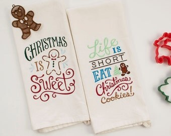 Christmas Dish Towel Set - Gingerbread Man Ornament - Embroidered Christmas Kitchen Towel - Christmas Kitchen Decor - Christmas Ornament