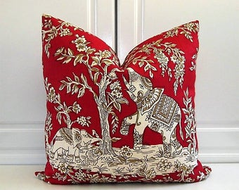 Clarence House Decorative Pillow Cover- China Red Elephants- 18x18, 20x20,22x22