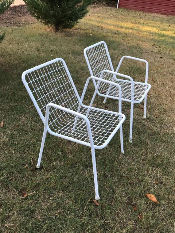 Vintage Set Of Two 2 White Emu Garden Rio Stacking Metal Patio