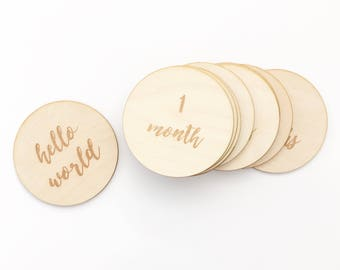 Monthly Milestone Engraved Wood Plaques, Baby Keepsake, Monthly Photos and Baby Shower Gift