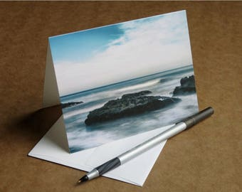 Yachats Blue, ocean on the Oregon coast, blank notecard or greeting card