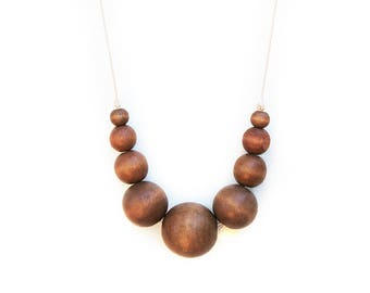Coffee - Wooden Beaded Necklace