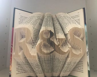 Initials any 3 letters, Folded book art - Unique folded book art custom made with a word of your choice- see item details section for more i