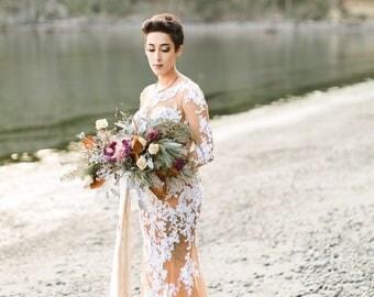 dried flower bouquet, custom dried bridal bouquet, gold bridal bouquet, rosegold bouquet, magnolia bouquet, gold wedding, foraged bouquet