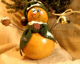 Hand crafted and painted primitive gourd snowman by Debbie Easley