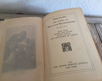 Vintage Book Titled The Works Of William Shakespeare by The Jewish Morning Journal