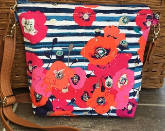 Navy  crossbody bag, waxed canvas bag, crossbody bag, striped, floral